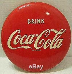 1950's VINTAGE ORIGINAL DRINK COCA-COLA BUTTON DISC SIGN EXCELLENT CONDITION