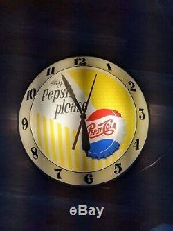 1961 Pepsi Double Bubble Clock -Say Pepsi Please -15- Excellent condition