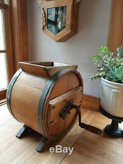 Antique Cedar Wood Barrel Butter Churn With Crank Excellent Condition