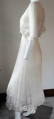 Antique Edwardian Net Crochet Embroidered Tea Dress Excellent Condition
