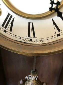 Antique Waterbury Oak Mantel Chiming Clock, Excellent Condition, Circa 1900
