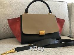 Authentic CELINE (ORIGINAL CELINE)'TRAPEZE' TAN/PINK Bag Excellent condition