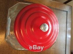 Country Store Vintage LANCE Cracker Jar & Metal LidExcellent Condition