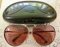 Genuine 80's Porsche Design Sunglasses Gold/brwn Excellent Condition, Orig Case