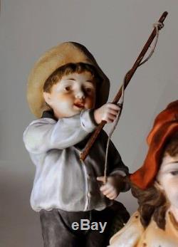 Heubach Hertwig Huge Victorian Piano Baby Bisque Figurine Excellent Condition