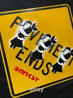 LARGE- Banksy Street Sign Original Painting -Bomb Hugger -excellent Condition
