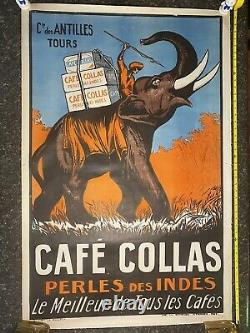 Original French CAFE COLLAS Lithograph Poster 1927 Excellent Condition