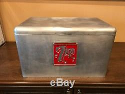 Original Vintage Metal 7-UP Cooler With Aluminum Tray Excellent Condition