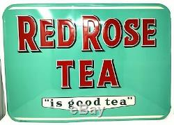 Red Rose Tea Rare Original 1950s Tin Sign Excellent Condition