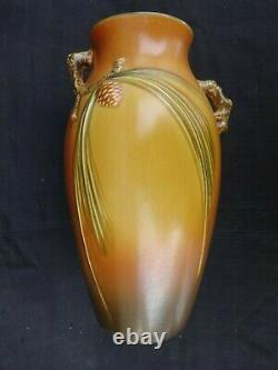 Roseville Large Brown Pinecone Vase 806-12 Excellent Mold And Condition
