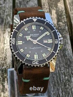 Salvest Super Datomatic 1970s Midsize Diver Excellent Original Condition