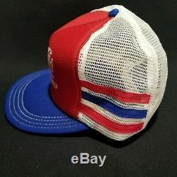 VTG NOS 3 Stripe Pepsi-Cola Trucker Hat Mesh Snapback Excellent Condition USA
