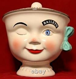 Vintage Baileys Irish Cream Winking Eye Girl Cookie Jar Excellent Condition