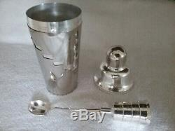 Vintage Napier Cocktail Shaker & Jigger Mechanical Spoon In Excellent Condition