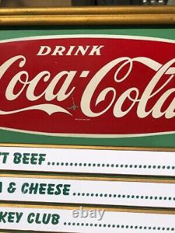 1959 Coca Cola Menu Conseil Rayées. Metal Et Masonite Excellent Etat