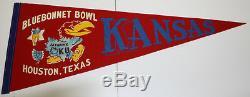 1961 Vintage Bluebonnet Bowl Kansas Jayhawks Pennant Excellent Etat
