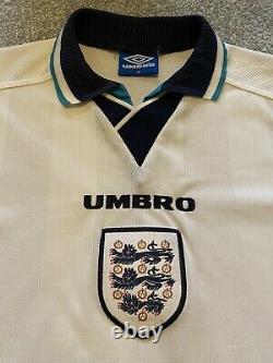 Angleterre Euro 96 Maillot De Foot Original. Mens Medium. Excellent État. Rétro