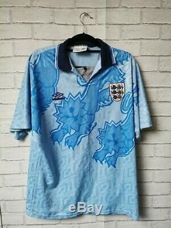 Angleterre Originale 1992 Umbro Loin 3 Shirt Adulte Grand Excellent Etat
