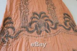 Antique Art Déco Des Années 1920 Robe Perlée Peach Argent Perlage Excellent État Nr