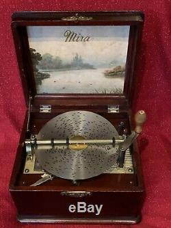 Antique D'origine Mira Musique Disc Box W Cithare & Disques Excellent État
