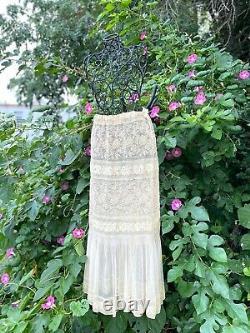 Antique Des Années 1910 White Lace Half Slip Petticoat Bridal Excellent État Taille M