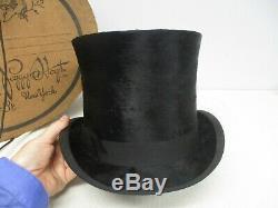 Antique Dunlap & Co Noir Beaver & Silk Top Hat Excellent Etat