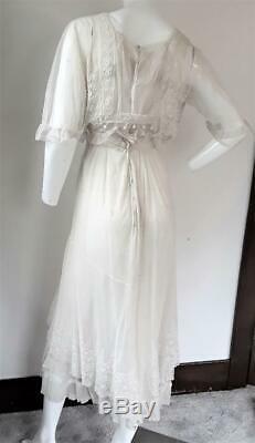 Antique Edwardian Net Crochet Brodé Thé Robe Excellent État