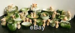 Antique German Pink Pig Pigs Porcelaine Baignoire Figurine Excellent État