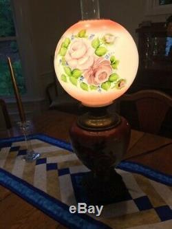 Antique Lampe À Huile Peinte À La Main Gwtw Électrifié Excellent État