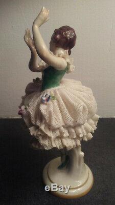 Antique Porcelaine De Dresde Dentelle Ballerina Volkstedt Allemagne, Excellent Etat