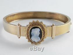 Antique Victorian 15k Bracelet En Or 15ct Cameo Excellent Etat