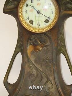 Art Nouveau Seth Thomas Horloge En Bronze Polychrome Boîtier Excellent État De Travail