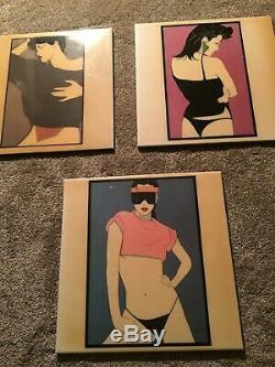 Art Vintage Patrick Nagel Déco Des Années 1980 Céramique Set Carreaux De 3 Excellent Etat