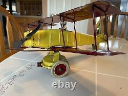 Avion Biplan Kingsbury Wind Up Excellent État, Original, Au Travail, 1920s