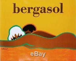 Bergasol Bernard Villemot Sur Lin Excellente Condition Original Affiche Vintage