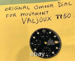 Cadran Omega Bleu Foncé Original Pour Le Mouvement, Valjoux 7750, Excellent État