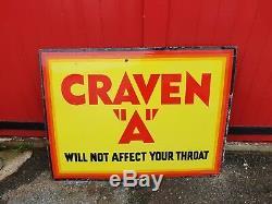 Craven A Original Grand Émail Sign Excellent Etat