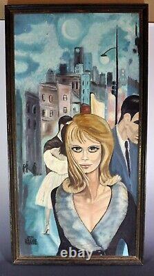 Escape Peinture Originale D'après Margaret Keane Big Eyes Excellent État