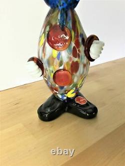 Figurine Vintage En Verre De Murano Clown. Excellent État. D'origine Soufflée À La Main
