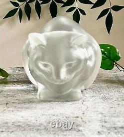 France Lalique Chat Crouching Cat Couche- Excellent État Signé Et Authentique