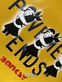 Grand- Banksy Street Signe Peinture Originale -bomb Hugger -excellent État
