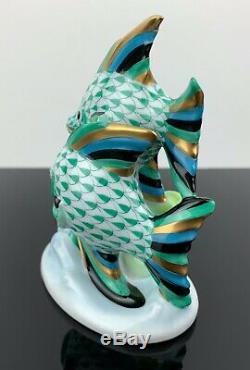 Herend Paire De Poisson Figurine Verte Résille Condition Excellente