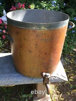 Humge Anticique English Copper Stock Pot Avec Spigot & LID Excellent Condition