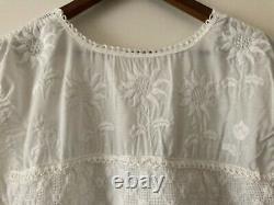 Mini Robe Mexicaine Brodée En Coton Blanc De Vintage 1970, Excellent État