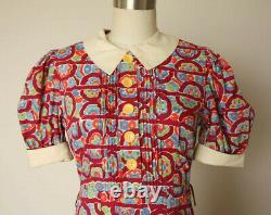 Original Vintage 1930s Robe De Coton Puff Manches Excellent État Sz Petit