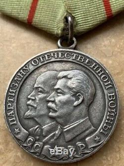 Partisan 1ème Premier Soviet Russie Urss Médaille Original Condition Excellente