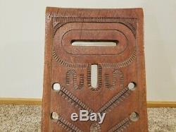 Rare Antique Vintage Africaine En Bois Sculpté Accouchement Chaise Excellente Forme Ornement