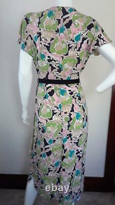 Robe D'impression De Nouveauté Des Années 1940 Avec City Scape Graphics+excellent Condition+m