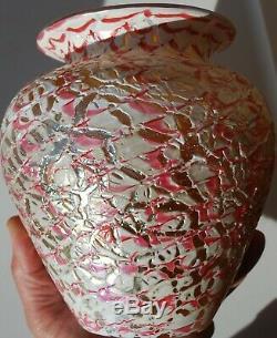 Rouge Maure Crackle Durand Vase Excellent État! Grande Pièce