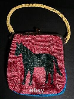 Super Plateau Perlé Horse Porte-monnaie Pictoriale, Excellent État D'origine, C1900